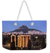 View Of The Temple Of Olympian Zeus And Mount Lycabettus In The  Weekender Tote Bag