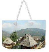 Village On Mountain Rural Landscape Weekender Tote Bag