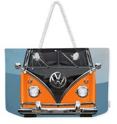Volkswagen Type 2 - Black And Orange Volkswagen T 1 Samba Bus Over Blue Weekender Tote Bag by Serge Averbukh