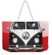 Volkswagen Type 2 - Black And White Volkswagen T 1 Samba Bus On Red  Weekender Tote Bag