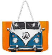 Volkswagen Type 2 - Blue And White Volkswagen T 1 Samba Bus Over Orange Canvas  Weekender Tote Bag by Serge Averbukh
