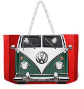 Volkswagen Type 2 - Green And White Volkswagen T 1 Samba Bus Over Red Canvas  Weekender Tote Bag by Serge Averbukh