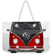 Volkswagen Type 2 - Red And Black Volkswagen T 1 Samba Bus On White  Weekender Tote Bag