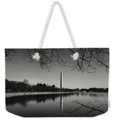 Washington Memorial Framed By Cherry Trees In The Winter Weekender Tote Bag