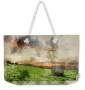 Watercolor Painting Of Beautiful Summer Vibrant Sunset Over Coun Weekender Tote Bag