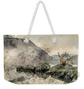 Watercolor Painting Of Stunning Powerful Red Deer Stag Looks Out Weekender Tote Bag