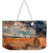 Watercolour Painting Of Beautiful Golden Hour Hay Bales Sunset L Weekender Tote Bag