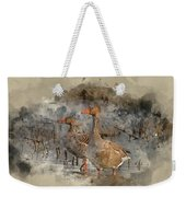 Watercolour Painting Of Beautiful Greylag Goose Anser Anser In W Weekender Tote Bag