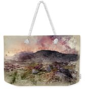 Watercolour Painting Of Stunning Summer Dawn Over Mountain Range Weekender Tote Bag