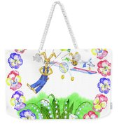 Welcome Spring. Rabbit And Flowers Weekender Tote Bag