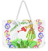 Welcome Spring.rabbit And Flowers Weekender Tote Bag
