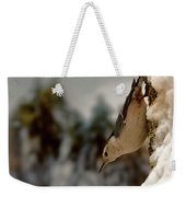 White Breasted Nuthatch In The Snow Weekender Tote Bag