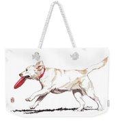 White Frisbee Dog Weekender Tote Bag