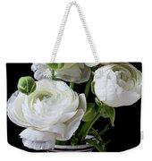 White Ranunculus In Black And White Vase Weekender Tote Bag
