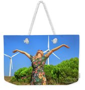 Wind Turbines Woman Weekender Tote Bag