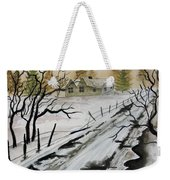 Winter Farmhouse Weekender Tote Bag