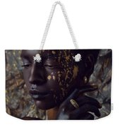 Woman In Splattered Golden Facial Paint Weekender Tote Bag