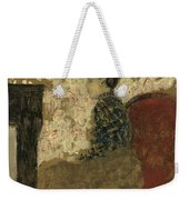 Woman Sitting By The Fireside Weekender Tote Bag