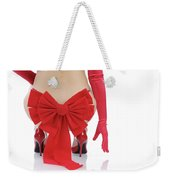 Woman With A Christmas Bow Weekender Tote Bag