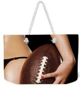 Woman With A Football Weekender Tote Bag