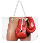 Woman With Boxing Gloves Weekender Tote Bag