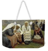 Women Outside The Church At Ruokolahti Weekender Tote Bag