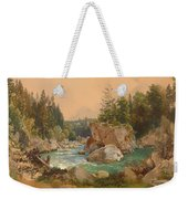 Wooded River Landscape In The Alps Weekender Tote Bag