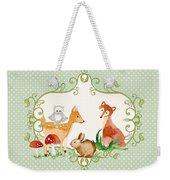 Woodland Fairytale - Animals Deer Owl Fox Bunny N Mushrooms Weekender Tote Bag