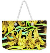 Yellow Lilies, Hand Drawn Painting Weekender Tote Bag