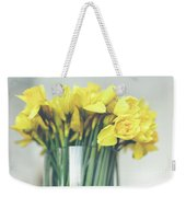 Yellow Narcissuses Bouquet In A Glass Vase Weekender Tote Bag