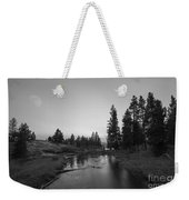 Yellowstone National Park Sunset And Moon Weekender Tote Bag
