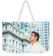 Young American Businessman Looking For Success. Weekender Tote Bag