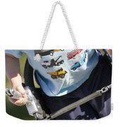 Young Boy Smiling Swinging In A Swing Weekender Tote Bag