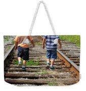 Young Boys On Railway Tracks Weekender Tote Bag