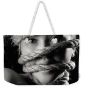 Young Expressive Woman Tied In Ropes Weekender Tote Bag