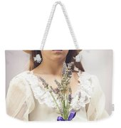 Young Girl With Lavender Weekender Tote Bag