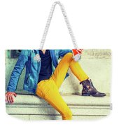 Young Man Reading Red Book, Sitting On Street Weekender Tote Bag