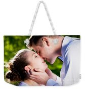 Young Romantic Couple Kissing With Love In Summer Park Weekender Tote Bag