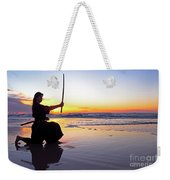 Young Samurai Women With Japanese Katana Sword At Sunset On The Beach Weekender Tote Bag