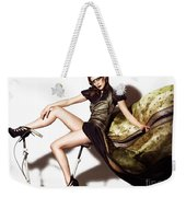Young Woman In Long Dress On Exercise Bike Weekender Tote Bag