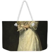 Young Woman In White Weekender Tote Bag