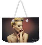 Young Woman With Glittered Fingers And Lips Weekender Tote Bag