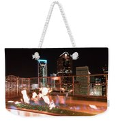 Charlotte North Carolina Skyline View At Night From Roof Top Res Weekender Tote Bag