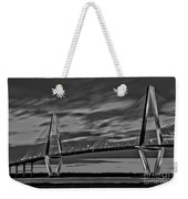 Ravenel Bridge Black And White Sunset Weekender Tote Bag
