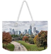 Charlotte City North Carolina Cityscape During Autumn Season Weekender Tote Bag