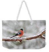 Eurasian Bullfinch In Winter Weekender Tote Bag