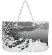 Snow Covered Landscapes In Belmont North Carolina Along Catawba  Weekender Tote Bag