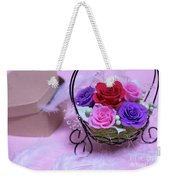 A Gift Of Preservrd Flower And Clay Flower Arrangement, Colorful Weekender Tote Bag