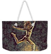 1307s-dancer Leap Fit Black Woman Bare And Free Weekender Tote Bag