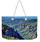 Hawksbill Mountain At Linville Gorge With Table Rock Mountain La Weekender Tote Bag